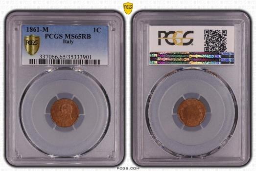 "Италия 1 чентезимо 1861 г. M, PCGS MS65 RD, ""Король Виктор Эммануил II (1861 - 1878)"""