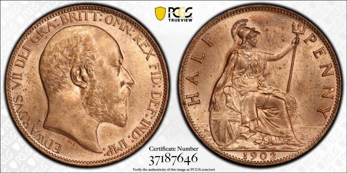 """Великобритания 1/2 пенни 1902 г., PCGS MS64 RD, """"Король Эдуард VII (1902 - 1910)"""""""