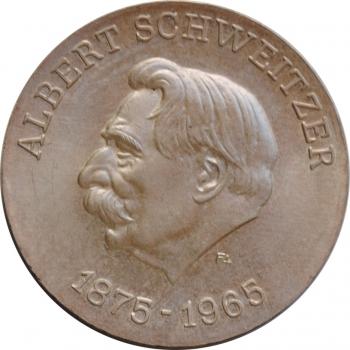 ГДР 10 марок 1975 г., UNC, '100 лет со дня рождения Альберта Швейцера'