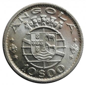 Ангола 10 эскудо 1955 г., BU, 'Португальская колония (1921 - 1974)'