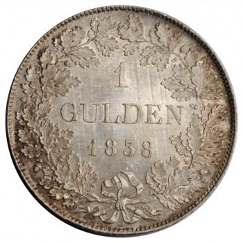 """Бавария 1 гульден 1838 г. A, UNC, """"Король Людвиг I (1825 - 1848)"""""""