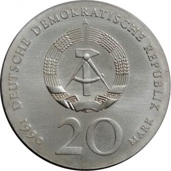 ГДР 20 марок 1990 г., UNC, '275 лет со дня смерти Андреаса Шлютера'