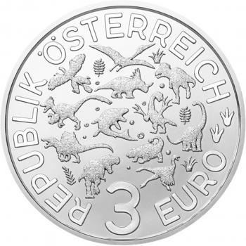 """Австрия 3 евро 2020 г., BU, """"Супер динозавры - Тираннозавр Рекс /Tyrannosaurus rex/"""""""