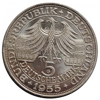 ФРГ 5 марок 1955 г., UNC, '300 лет со дня рождения Людвига фон Бадена'