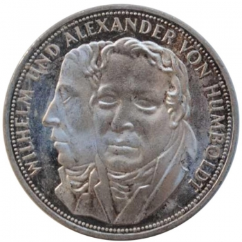 ФРГ 5 марок 1967 г., PROOF, '200 лет со дня рождения Гумбольдтов', РЕДКАЯ, (малый тираж)