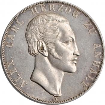 "Ангальт-Бернбург 2 союзных талера 1845 г., XF, ""Герцог Александр Карл (1834 - 1863)"""