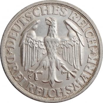 """Веймарская Республика 3 рейхсмарки 1928 г., UNC, """"1000 лет Динкельсбюлю"""""""