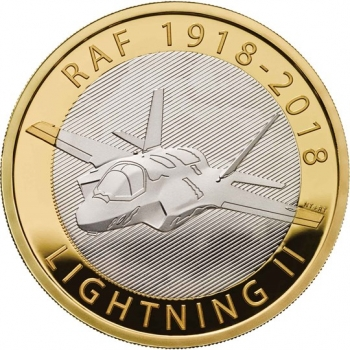 "Великобритания 2 фунта 2018 г., PROOF, ""100 лет Королевским ВВС - Lockheed Martin F-35 Lightning II"""