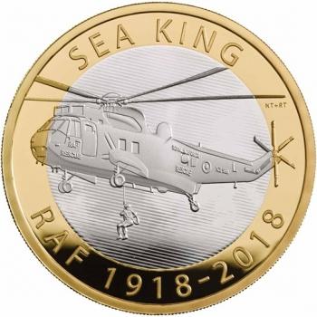 """Великобритания 2 фунта 2018 г., PROOF, """"100 лет Королевским ВВС - Sea King"""""""