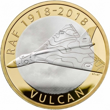 """Великобритания 2 фунта 2018 г., PROOF, """"100 лет Королевским ВВС  - Avro Vulcan"""""""