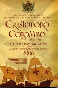 Сан-Марино 2 евро 2006 г., UNC, '500 лет со дня смерти Христофора Колумба'