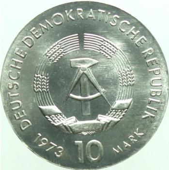 ГДР 10 марок 1973 г., UNC, '75 лет со дня рождения Бертольта Брехта'