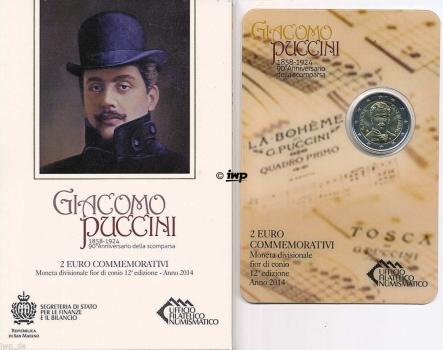 Сан-Марино 2 евро 2014 г., BU, '90 лет со дня смерти Джакомо Пуччини'