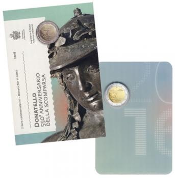 Сан-Марино 2 евро 2016 г., BU, '550 лет со дня смерти Донателло'