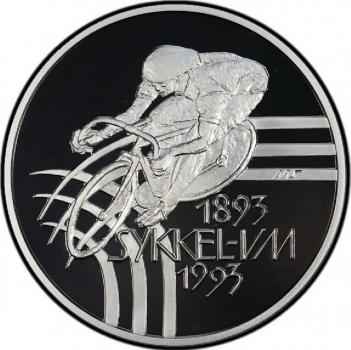 """Норвегия набор 100 крон 1993 г., PROOF, """"Чемпионат мира по велоспорту"""""""