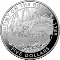 "Австралия 5 долларов 2019 г., PROOF, ""Мятеж на Баунти"""