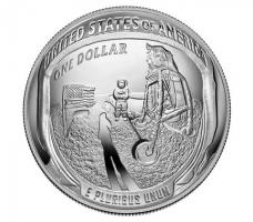 """США 1 доллар 2019 г., PROOF, """"50 лет Космической программе Аполлон-11"""""""