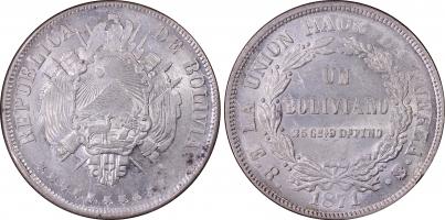 """Боливия 1 боливиано 1871 г. ER, PCGS MS62, """"Республика Боливия (1870 - 1963)"""""""