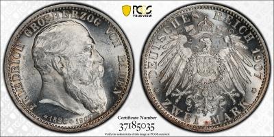 """Баден 2 марки 1907 г., PCGS MS63, """"Смерть Фридриха I"""""""