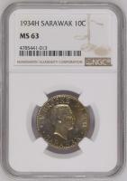 "Саравак 10 центов 1934 г., NGC MS63, ""Раджа Чарльз Вайнер Брук (1917 - 1946)"""