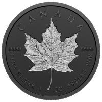 """Канада 20 долларов 2020 г., PROOF, """"Любимый кленовый лист с родиевым покрытием"""""""