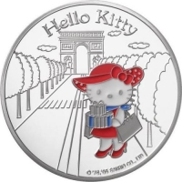 "Франция 1½ евро (1,5 евро) 2005 г., PROOF, ""Hello Kitty - Китти на Елисейских полях"""