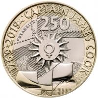 """Великобритания 2 фунта 2019 г., BU, """"250 лет кругосветному путешествию Джеймса Кука"""""""