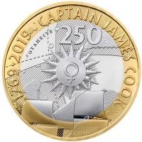 """Великобритания 2 фунта 2019 г., PROOF, """"250 лет кругосветному путешествию Джеймса Кука"""""""