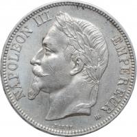 """Франция 5 франков 1867 г. BB, AU, """"Император Наполеон III (1852 - 1870)"""""""