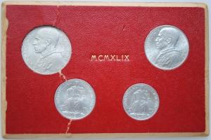 """Ватикан набор 1, 2, 5, 10 лир 1949 г., UNC, """"Папа Пий XII (1939 - 1958)"""""""