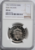 Ватикан 500 лир 1963 г., NGC MS66, 'Вакантный престол'