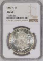 "США 1 доллар 1883 г. O, NGC MS63+, ""Доллар Моргана"""