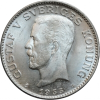 """Швеция 1 крона 1935 г. G, BU, """"Король Густав V (1908 - 1950)"""""""