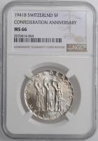 """Швейцария 5 франков 1941 г., NGC MS66, """"650 лет Швейцарской Конфедерации"""""""