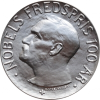 """Норвегия 100 крон 2001 г., PROOF, """"100 лет Нобелевской премии"""""""