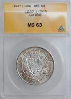"""Великобритания 1/2 кроны 1897 г., ANACS MS63, """"Королева Виктория (1838 - 1901)"""""""
