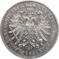 """Шварцбург-Зондерсгаузен 1 союзный талер 1865 г., UNC Details, """"Князь Гюнтер Фридрих Карл II (1835 - 1880)"""""""