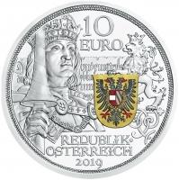 """Австрия 10 евро 2019 г., PROOF, """"Рыцарские истории - Рыцарство, Цветное покрытие"""""""