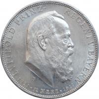 """Бавария 5 марок 1911 г., UNC, """"90 лет со дня рождения Луитпольда Баварского"""""""