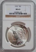 "США 1 доллар 1922 г., NGC MS63, ""Мирный доллар"""