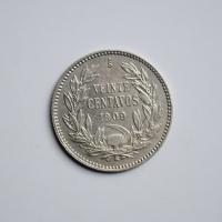 Чили 20 сентаво 1909 г., XF, РЕДКОЕ СОСТОЯНИЕ