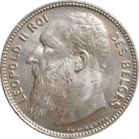 """Бельгия 1 франк 1909 г. DES, BU, """"Король Леопольд II (1865 - 1909)"""""""