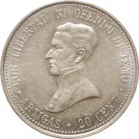 "Уругвай 20 сентесимо 1920 г., UNC, ""Хосе Хервасио Артигас (1764 - 1850)"""