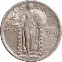 "США 1/4 доллара (квотер) 1920 г., XF-AU, ""Standing Liberty Quarter"""