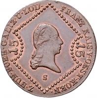 """Австрия 15 крейцеров 1807 г. S, UNC, """"Император Франц II (1806 - 1835)"""""""