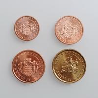 """Монако 1, 2, 5, 20 евроцентов 2001 г., UNC, """"Ренье III (Европейский Cоюз) (2001 - 2005)"""""""