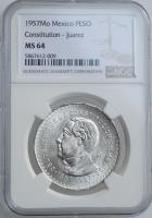 """Мексика 1 песо 1957 г., NGC MS64, """"100 лет Конституции Мексики"""""""