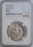 """США 50 центов 1936 г. D, NGS MS65, """"Калифорнийская Тихоокеанская выставка в Сан-Диего"""""""