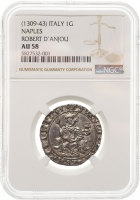 """Неаполь 1 Джильято 1309-1343 г., NGC AU58, """"Король Роберт I Анжуйский """"Мудрый"""" (1309-1343)"""""""