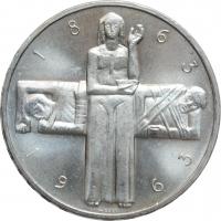 """Швейцария 5 франков 1963 г., UNC, """"100 лет Красному Кресту"""""""